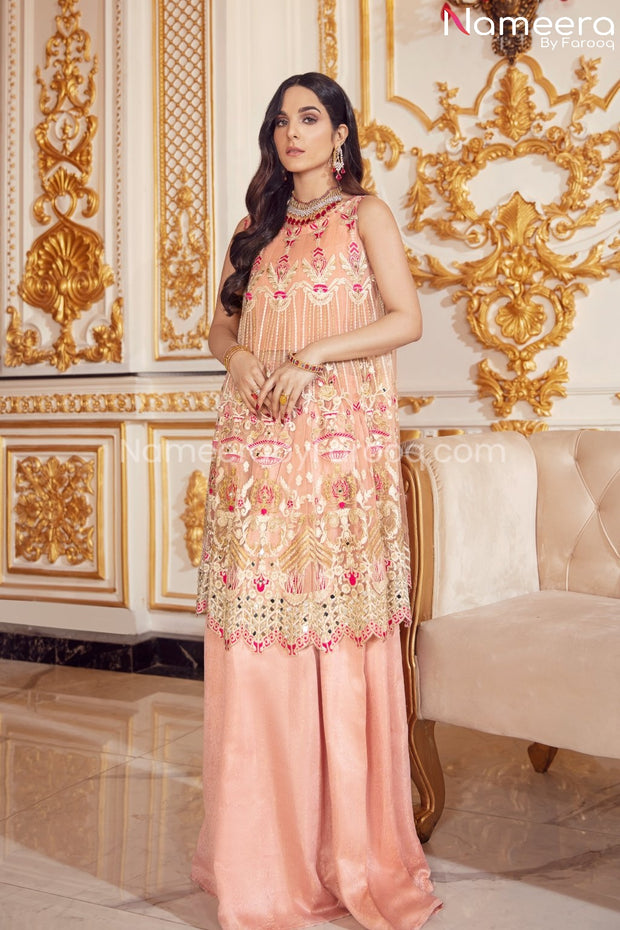 Elegant Pakistani Long Frock for Wedding Party Short Frock Look