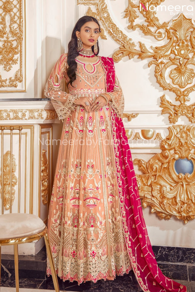 Elegant Pakistani Long Frock for Wedding Party