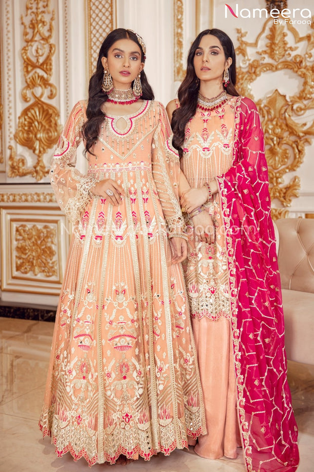 Elegant Pakistani Long Frock for Wedding Party Online