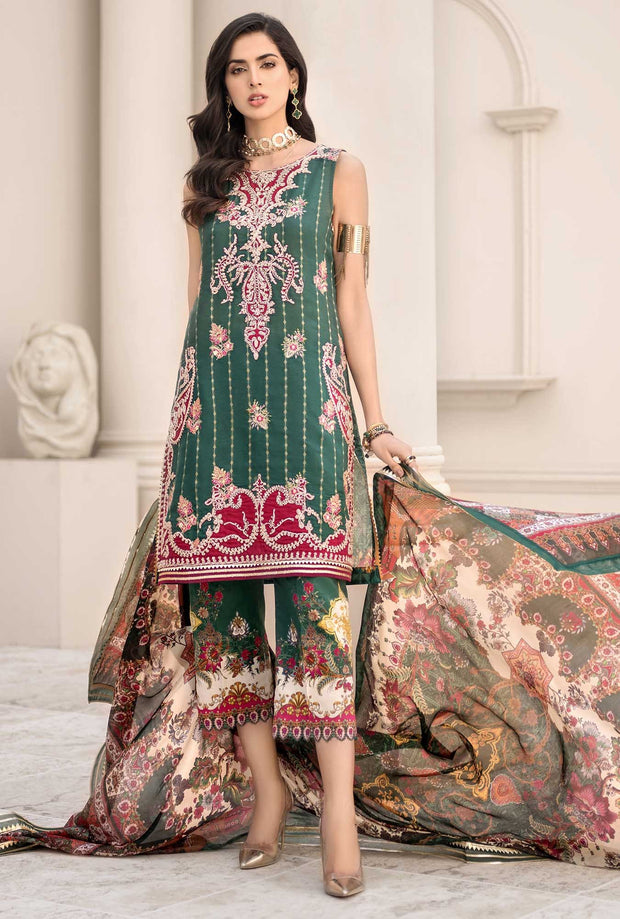 Elegant Lawn Dress in Bottle Green Color