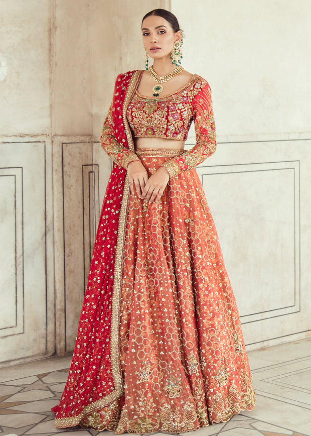 Elegant Pakistani Bridal Lehnga Dress for Wedding Front Look
