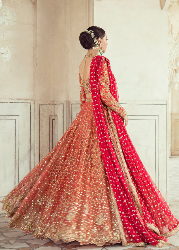 Elegant Pakistani Bridal Lehnga Dress for Wedding Backside View