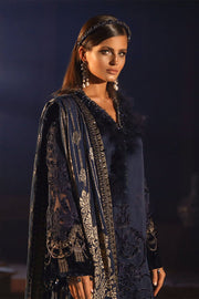 Elegant Pakistani Designer Dress in Dark Blue Color Side Pose