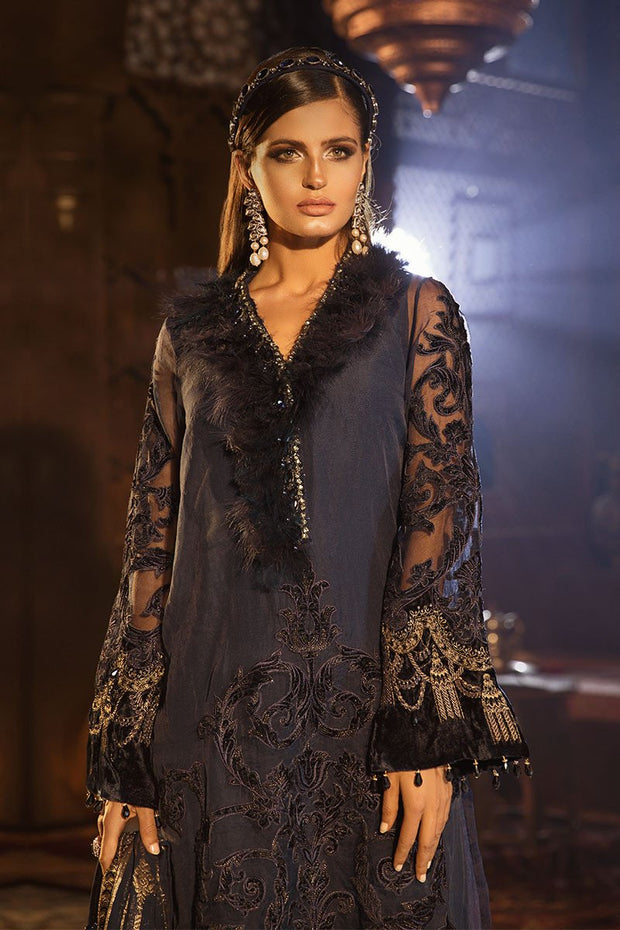 Elegant Pakistani Designer Dress in Dark Blue Color Neckline View