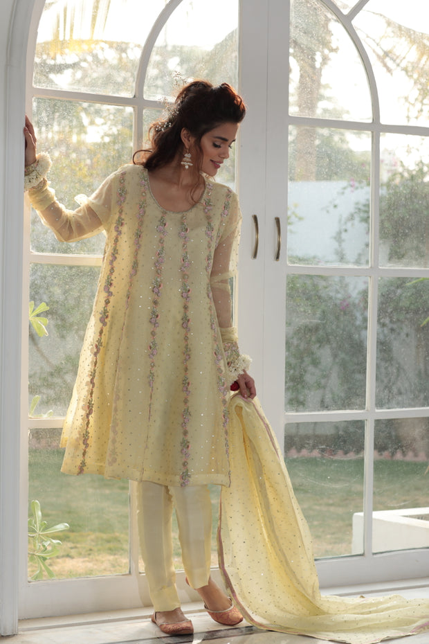 Elegant Party wear eastern dress in pastel yellow color # P2218