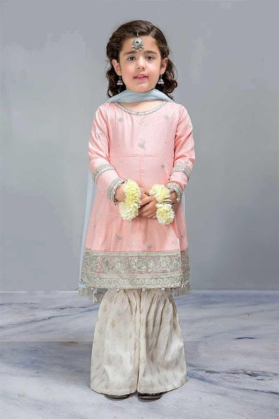 Elegant Peach and Off White Gharara Frock Designer Dress for Kids