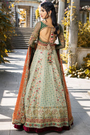 Elegant bridal dress in ghaghra choli style in green color # B3308