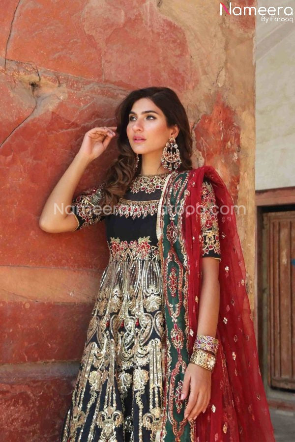 Embellished Pakistani Long Gown for Wedding Wear
