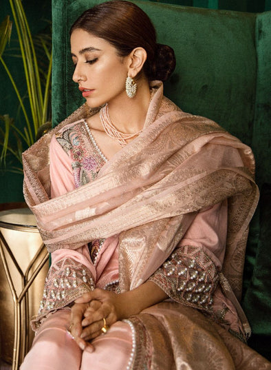 Beautiful Pakistani embroidered velvet party outfit in soft peach color