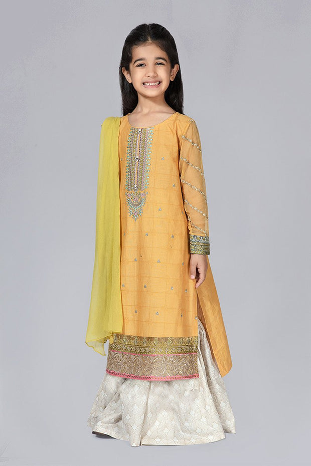 Embroidered Kids Eid Wear in Yellow Color