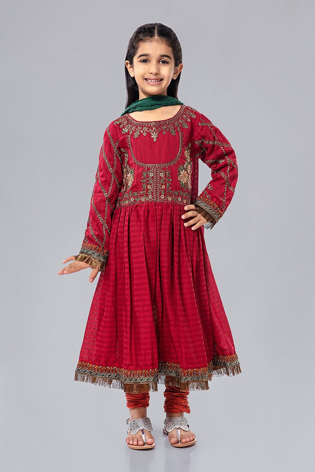 Embroidered Kids Frock for EId in Red Color