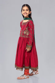 Embroidered Kids Frock for EId in Red Color Side Pose