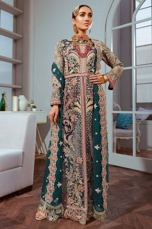 Embroidered Luxury Chiffon Wear in Green Color