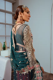 Embroidered Luxury Chiffon Wear in Green Color Backside Look