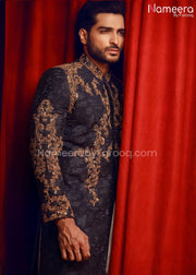 Embroidered Mens Sherwani in Navy Blue Color Close Up