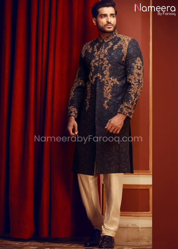 Embroidered Mens Sherwani in Navy Blue Color