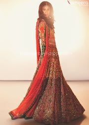 Embroidered Pakistani Lehenga Dress for Wedding Side Pose