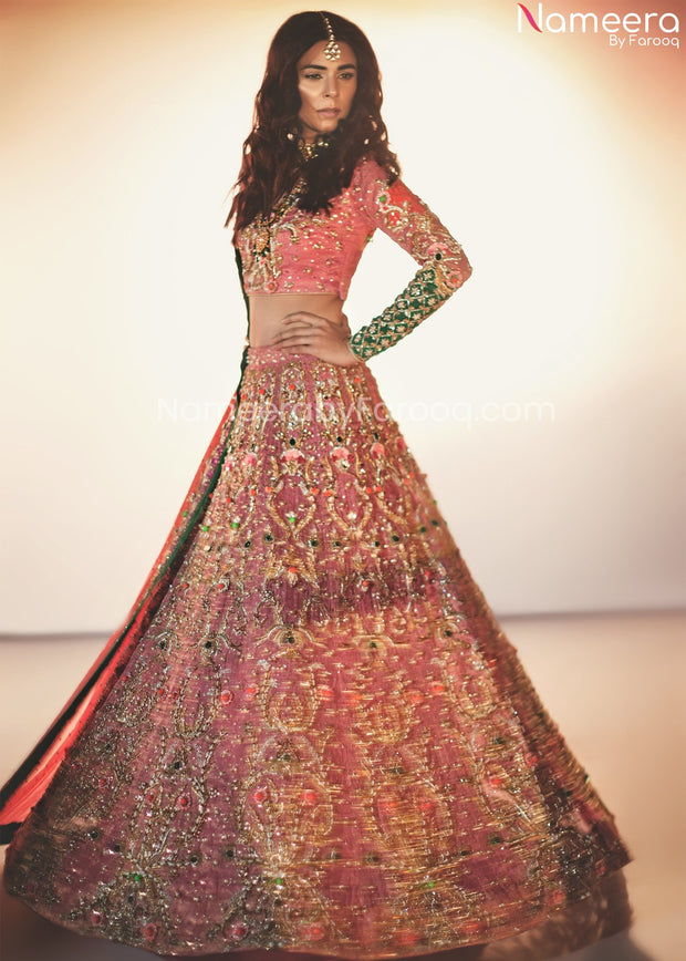 Embroidered Pakistani Lehenga Dress for Wedding Front Look