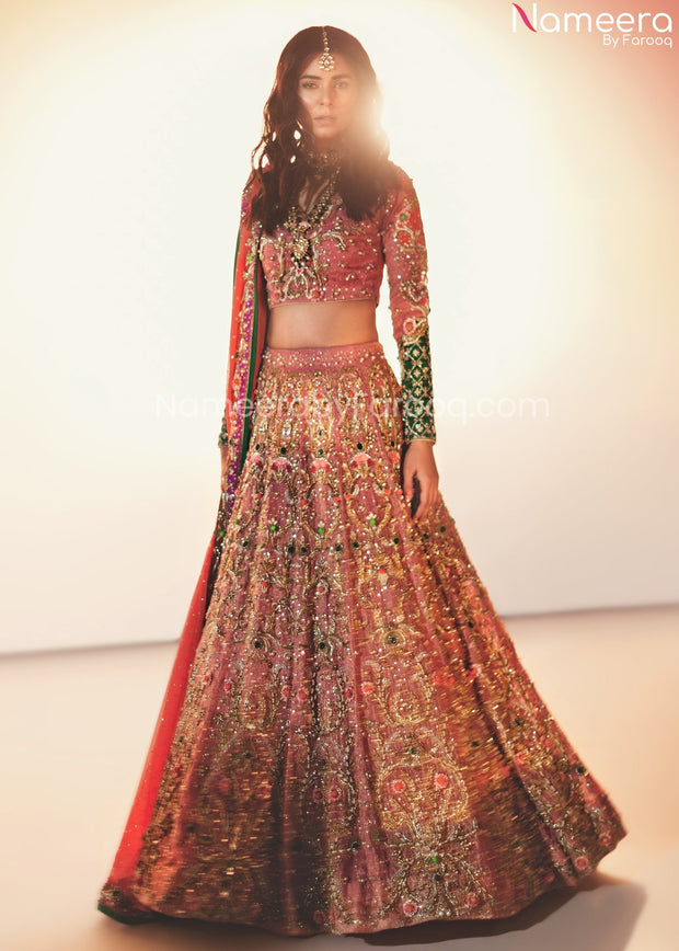 Embroidered Pakistani Lehenga Dress for Wedding