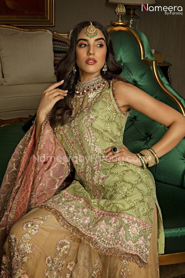 Embroidered Pakistani Sharara with Short Kurti Close Up