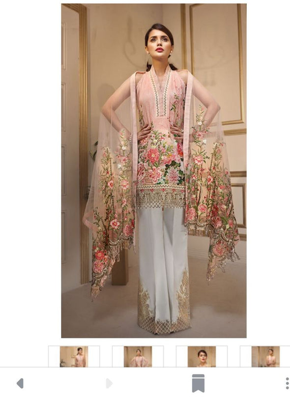 Embroidered Lawn Dress for Eid with Net Dupatta Honey Waqar