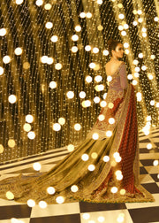 Embroidered Pakistani bridal lehnga in gold and maroon color # B3370