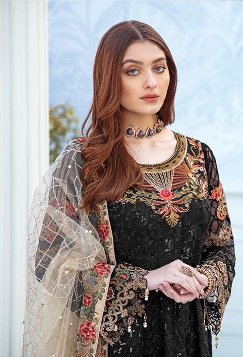 Latest embroidered chiffon dress 2020 in black and skin color # P2514