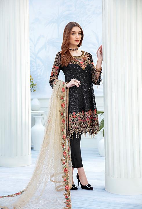 Latest embroidered chiffon dress 2020 in black and skin color