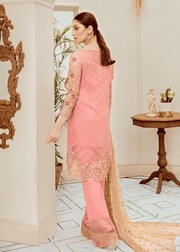 Pakistani embroidered fancy chiffon outfit in pink color # P2285