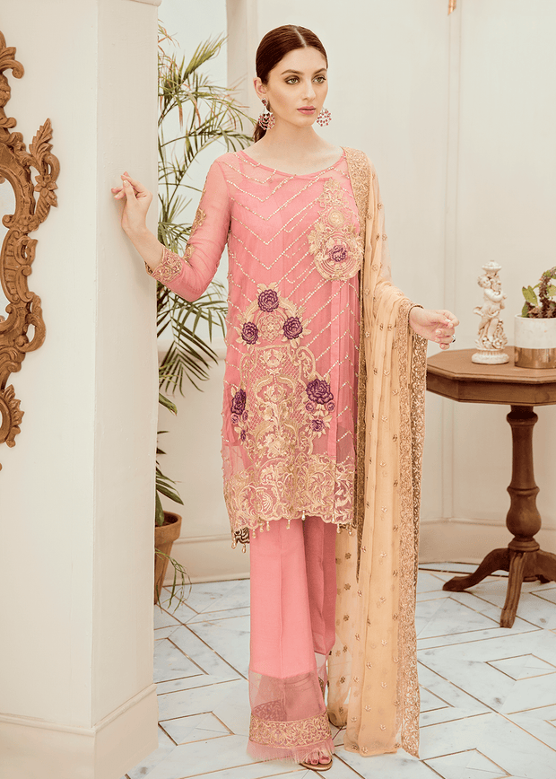 Pakistani embroidered fancy chiffon outfit in pink color