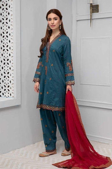 Beautiful embroidered eid dress in lavish blue color