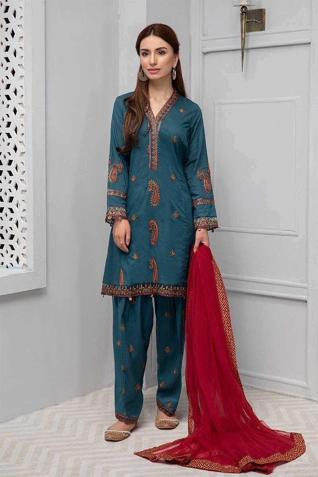 Beautiful embroidered eid dress in lavish blue color # P2240