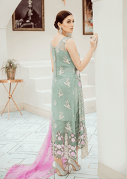 Pakistani embroidered fancy dress in lavish aqua color # P2288