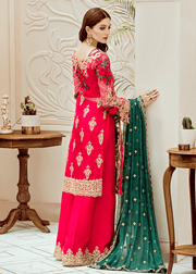 Pakistani embroidered fancy dress in hot pink color # P2279