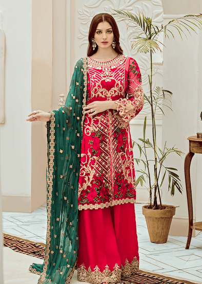 Pakistani embroidered fancy dress in hot pink color