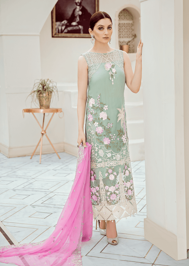 Pakistani embroidered fancy dress in lavish aqua color