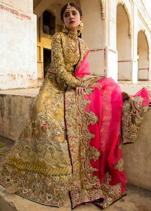 Pakistani embroidered frock dress for bridal wear in dull gold color # B3389