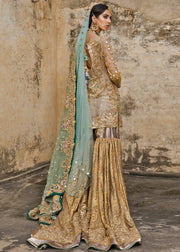 Latest embroidered gharara dress for wedding in copper gold color # B3397