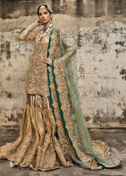 Latest embroidered gharara dress for wedding in copper gold color