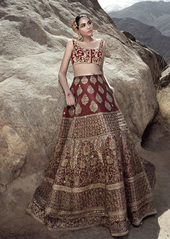 Latest Indian embroidered skirt dress in red color for wedding wear # B3410
