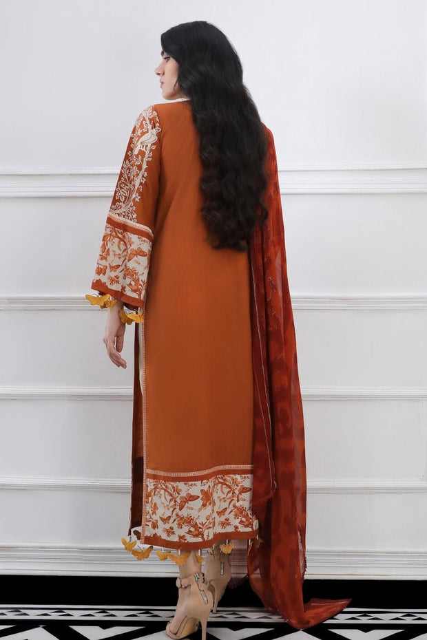 Pakistani embroidered slub outfit for casual wear in orange color # P2394