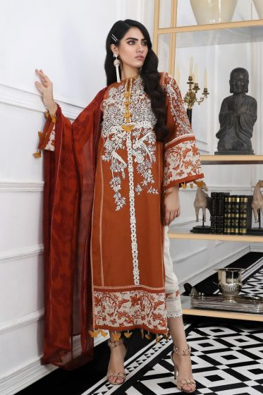 Pakistani embroidered slub outfit for casual wear in orange color