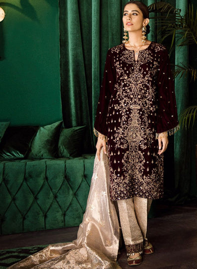 Beautiful Pakistani embroidered velvet party dress in burgundy color