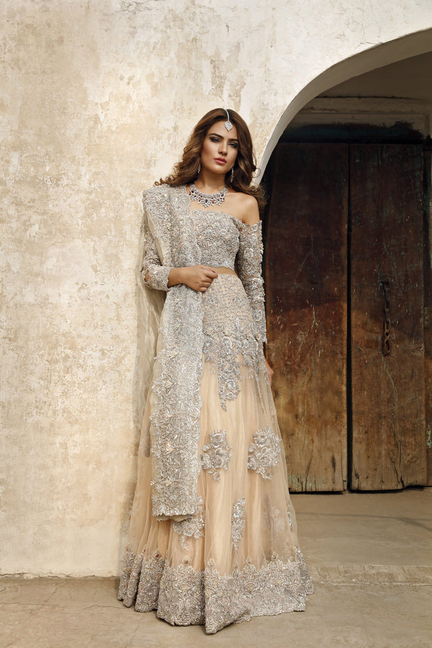Latest Pakistani embroidered walima dress in lavish peach color