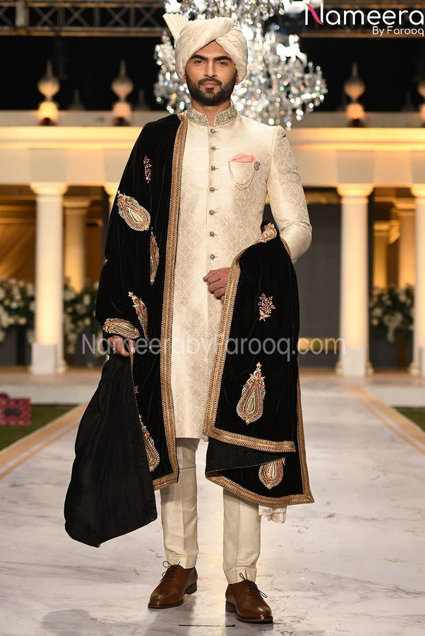 Embroidery Pakistani Sherwani  in Off White 2021 Front Look