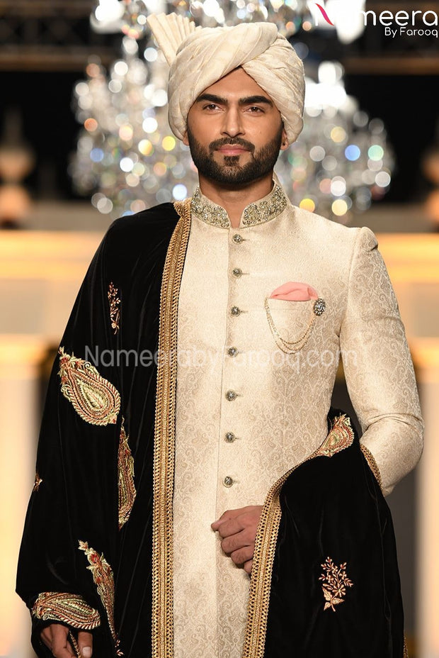 Embroidered Pakistani Sherwani  in Off White 2021 close up look