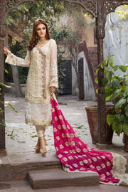 Embroidered Chiffon Dress in Off White Color