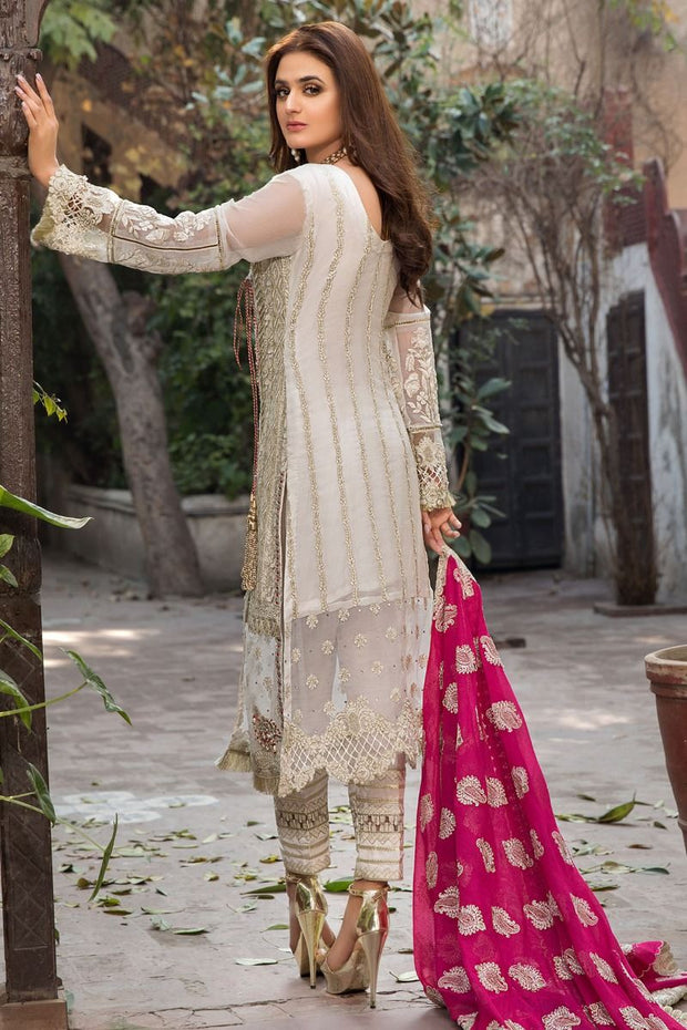 Embroidered Chiffon Dress in Off White Color Backside Look