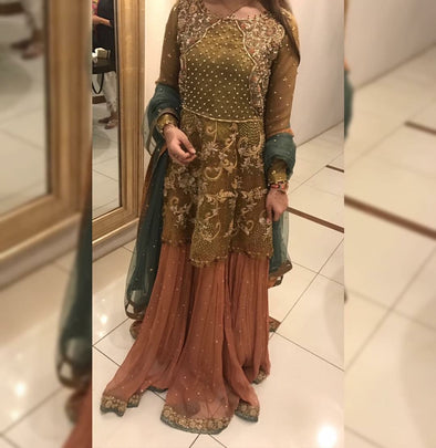 Wedding party sharara green and copper color with heavy dabka nagh perls and zari work Model#P1113