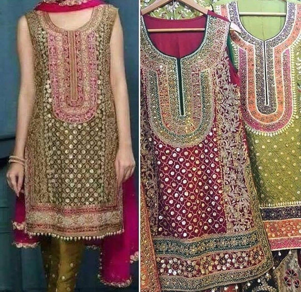 Mehndi Party Dress In Mehndi Green Color.Work Embalished With Tilla,Threads,Moti,Nagh,&,Gota Work.